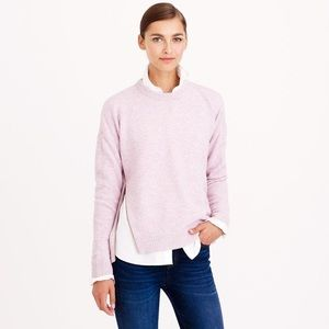 J. Crew Lambswool Zip Sweater Pink + Purple